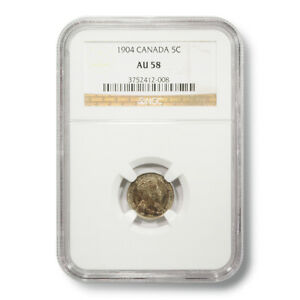 1904 Canada George V 5¢ AU-58 NGC Encapsulated Silver Coin