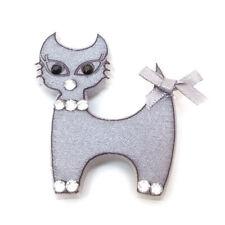 BROCHE CHAT gris argenté strass platsique légère enfant ou adulte