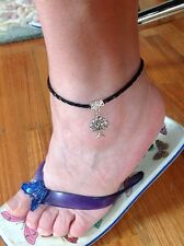 Anklet TREE OF LIFE faux Braided Leather Surf Beach Skate Punk Boho SHIMMERIZE