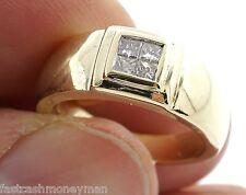 MENS SD SOLID 14K YELLOW GOLD 1/4 CTTW PRINCESS CUT DIAMOND PINKY RING 7 1/2