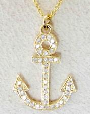 """14K YELLOW GOLD SPARKLING NATURAL DIAMOND ANCHOR PENDANT NECKLACE 18"""" CHAIN"""