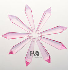 10PCS Pink Crystal Glass Chandelier Lamp Lighting Part Prisms Drop Pendants 55MM