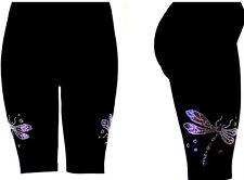 PLUS Size Shorts Rhinestone Embellished Sport Yoga Running Exercise Dragonflies