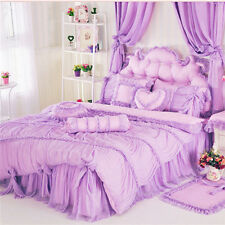 Luxury Lace princess bedding sets Cotton Duvet cover sets girls bedskirt bedding