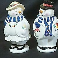 "Vintage Snowman S&P Shaker Ceramic Man 5"" Woman 4-3/4"" Blue Scarf 1999 Preowned"