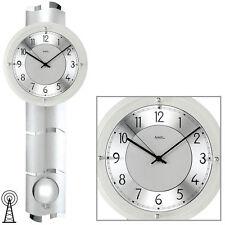 NEU Designer Pendeluhr Funk Wanduhr AMS Quarz Silber Design Uhr Pendel Funkuhr