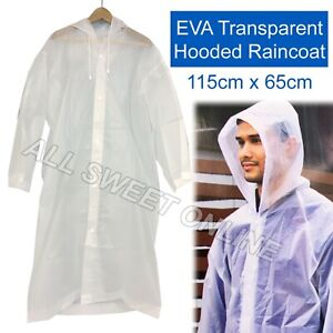 EVA Transparent Poncho Hooded Raincoat With Drawstrings Long-Sleeved Waterproof