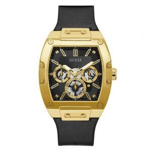 Mens Wristwatch GUESS PHOENIX GW0202G1 Multifunction Silicone Black Golden