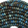 """Faceted Brown Blue Turquoise Rondelle Beads 15.5"""" Strand 4x6mm 5x8mm 6x10mm"""