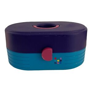 Vtg 80s Caboodles Makeup Pageant Cosmetic Oval Organizer Case 2615 Teal Purple