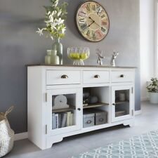 FineBuy Solid Glass White Cabinet Country House