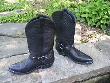 BLACK SOFT LEATHER COWBOY BOOTS, Custom made Metal Heart dsgn Western boots 7.5