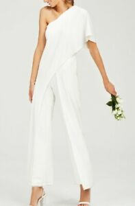 Adrianna Papell Women's Jumpsuit White Ivory US Size 14 One-Shoulder $189- #591