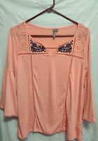 New Direction Coral 3/4 Sleeve Embroidered Eyelet Tunic Top Size S