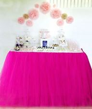 Handmade Table TuTu Skirt Table Cover For Dinner Parties / Table Decoration Pink