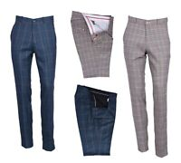 Men's Retro Vintage Sta Press Trousers 60s Slim Fit Classic Tweed Check Pants