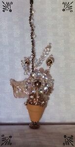 Rose Gold Apache Tears Clear AB Bead Potted Flowers Made With Swarovski Fan Pull