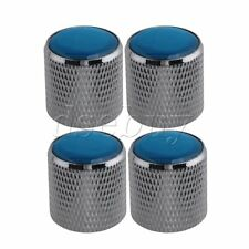 4pcs Domed Volume Tone Control metal Knob Silver with Blue Top Electric Guitar
