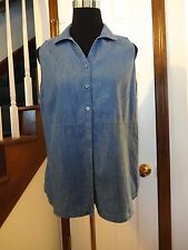New! Kelly by Clinton Kelly Blue Chambray Sleeveless Blouse    Size 8    $54.00