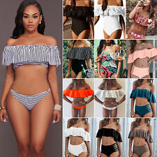 Women's Off Shoulder Ruffle Sexy Bikini Set Padded Bra Swimsuit Swimwear Bandeau
