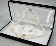 8-9MM White Akoya Cultured Pearl Necklace Bracelet Earring Set