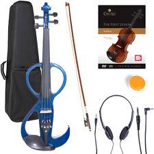 NEW 4/4 Ebony Electric Violin w/Pickup -Blue & Style-3
