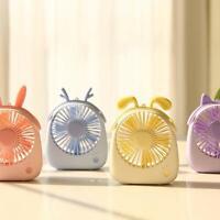 Cartoon Cute Portable Desk Mini Silent Fan Air Cooler 3 Speed USB Charging 7W US