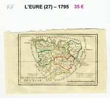 Dépt 27- XVIII ème Belle Carte Gravure sur Cuivre Aquarellée An III (1794/1795)