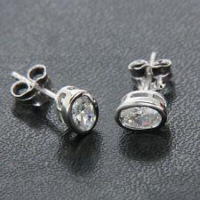 4.0ct Diamond Oval cut Stud Bezel Earrings Solid 14k White Gold Heavy Screw Back