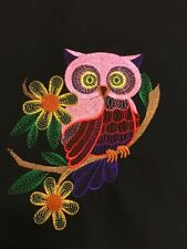 NINE - BEAUTIFUL OWLS-  EMBROIDERED QUILT BLOCKS