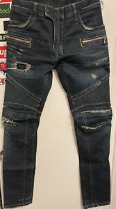 Balmain Dark Indigo Biker Jeans Size 31  100% Authentic