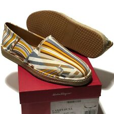 Salvatore Ferragamo 11 D 44 Men's Espadrilles Sandals Yellow White Gray Brown