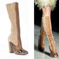 38.5 & 39 NEW $1700 NEW PRADA RUNWAY Nude PYTHON Suede Copper GLITTER KNEE BOOTS