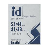 Pochettes Hawid double soudure 53 x 41 mm pour timbres type Tableau.