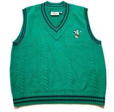 Disney Mickey Mouse Mens Green Sleeveless V-Neck Golf Sweater Vest Size Large
