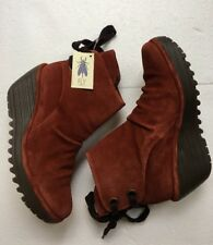 Fly London Yama Women's Boots Size 38~Brick Oil Suede