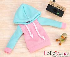 ☆╮Cool Cat╭☆213.【NP-B22】Blythe/Pullip Hoodie Top(Long Sleeves)# Aqua Hood+ Pink