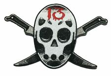 """Friday the 13th Movie Jason Mask Logo 4 1/2"""" Wide Embroidered Iron on Patch"""