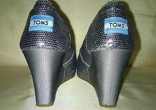 Tom's Wedge Heels, Silver Sequined  Womens Sz 6.5