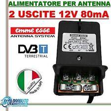 ALIMENTATORE TV PER AMPLIFICATORE ANTENNA TERRESTRE 12V - 2 USCITE 80mA,ITALY