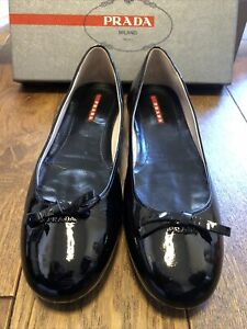 Prada Black Patent Pumps / Flat Size 41 UK 8