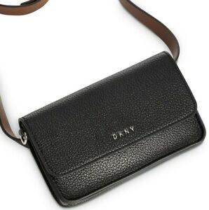 BRAND NEW AUTHENTIC DKNY ENVELOPE LEATHER BELT BAG BLACK MEDIUM $54