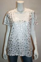 suzannegrae Brand White Silver Print Short Sleeve T-Shirt Top Size L BNWT #SQ48