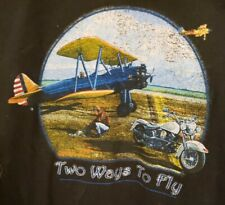 Harley Vintage T Shirt Two Ways To Fly Bike & Airplane Aviation 1st Clarksville