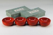 NEW Japan Red URUSHI Wood Bowl Set 4pc from AKITA w/box Free Shipping 623k42