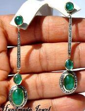 1.15 Ctw Natural Rose Cut Diamond Hanging Ruby Earrings 925 Sterling Silver Drop