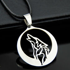 Cool Stainless Steel wolf moon Pendant Necklace