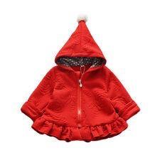 Niña Manga Larga Abrigo Con Capucha en rojo Rosa Oscuro 18-24 Months 2 3 4