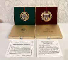 1996 & 1998 United States Mint Holiday Ornament Kennedy Half Dollar Roosevelt Di