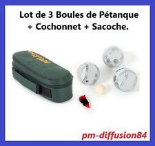 LOT de 3 BOULES de PETANQUE + COCHONNET + SACOCHE - Poids de 720 grs / Boule